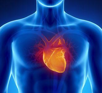 Glowing heart in male chest